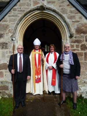 Bishop Sarah and Rev~d Steph with our Wardens
